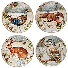 Certified International Winter Lodge 4-Pc. Canape Plates