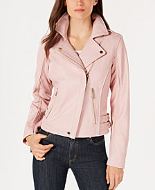 MICHAEL Michael Kors Leather Side-Strap Moto Jacket
