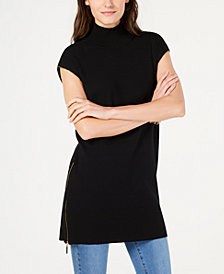 I.N.C. Zipper-Trim Sweater Tunic, Created for Macy's