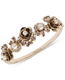 Marchesa Gold-Tone Crystal & Imitation Pearl Flower Bangle Bracelet