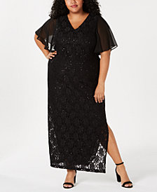 Connected Plus Size Flutter-Sleeve Lace Gown