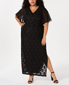 9fa16cc6d66 Connected Plus Size Flutter-Sleeve Lace Gown