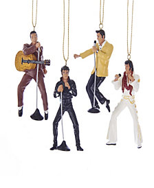 Kurt Adler 2.5 Inch Resin Elvis Presley 4 Piece Ornament Gift Set