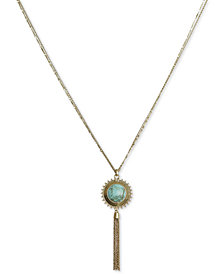 "Lucky Brand Gold-Tone Reversible Pendant Necklace, 30"" + 2"" extender"