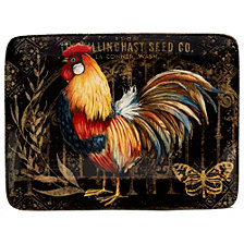 Certified International Gilded Rooster Rectangular Platter