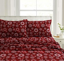 Christmas Eve Snowflakes Heavyweight Flannel King Pillow Pair Set