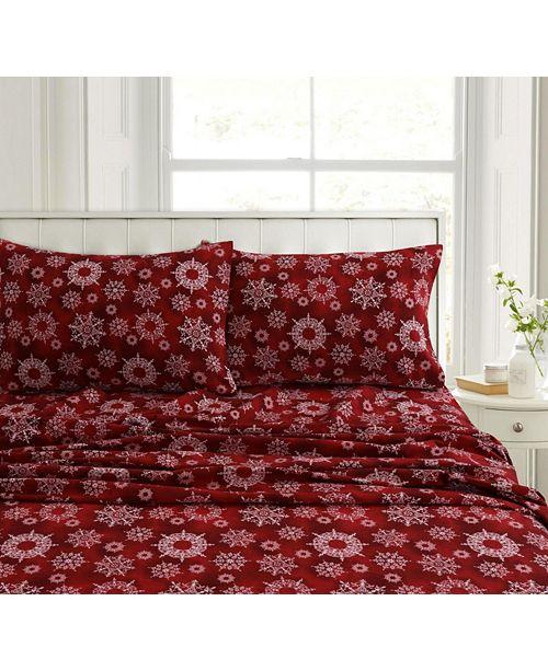 Christmas Sheets King.Christmas Eve Snowflakes Heavyweight Flannel King Pillow