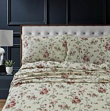 Dollhouse Floral Heavyweight Cotton Flannel Printed Extra Deep Pocket Queen Sheet Set