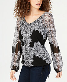 I.N.C. Placed-Lace Tie-Hem Peasant Top, Created for Macy's
