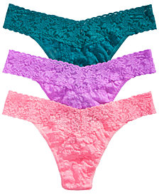 Hanky Panky Women's 3-Pk. Low-Rise Lace Thong 49HOLO3