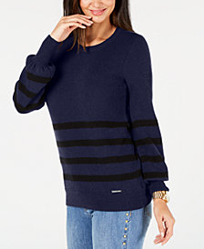 MICHAEL Michael Kors Striped Crew-Neck Sweater
