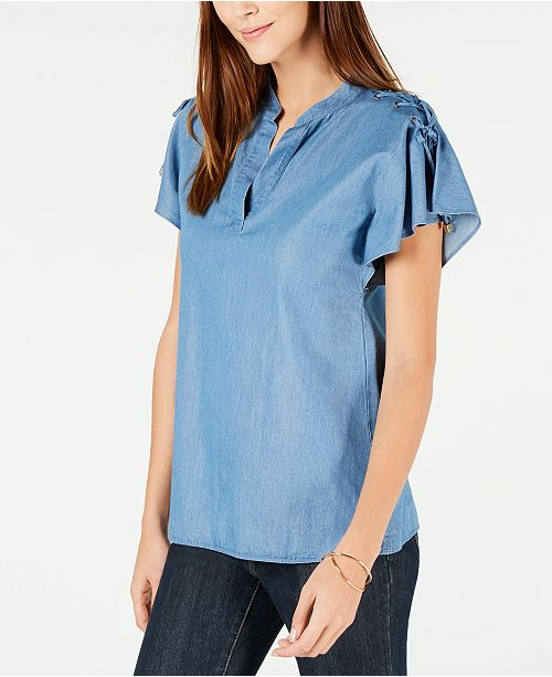 2ceca36336033 Michael Kors Lace-Up Flutter-Sleeve Chambray Top   Reviews - Tops ...