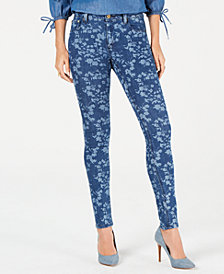 MICHAEL Michael Kors Floral-Print Skinny Jeans, In Regular & Petite Sizes