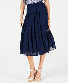 MICHAEL Michael Kors Tiered Midi Skirt