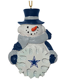 Memory Company Dallas Cowboys Snowflake Snowman Ornament
