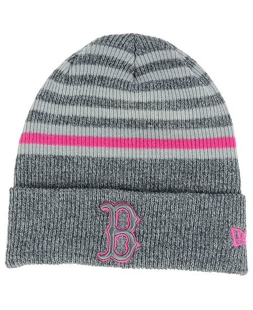 00bf2b3dc9b New Era Boston Red Sox Striped Cuff Knit Hat - Sports Fan Shop By ...