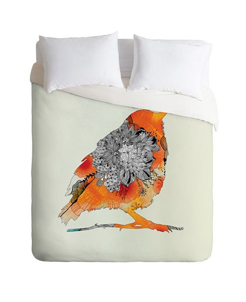 Deny Designs Iveta Abolina Orange Bird Twin Duvet Set