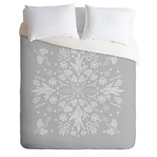Deny Designs Iveta Abolina White Floral Gray II Twin Duvet Set