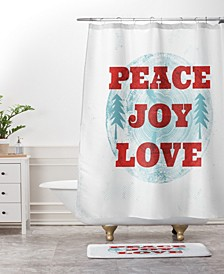 Heather Dutton Peace Joy Love Woodcut Bath Mat