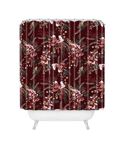 Deny Designs Holli Zollinger Poppy Wild Burgundy Shower Curtain