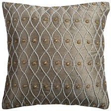 """Rizzy Home 12"""" x 12"""" Hand Beaded Poly Filled Pillow"""