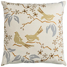 "Rizzy Home Blue 18"" X 18"" Floral With Birds Poly Filled Pillow"