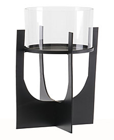 Equis Black Candle Holder Lg Black