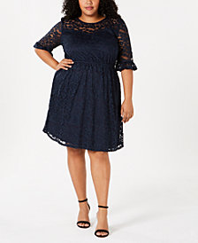 Monteau Trendy Plus Size Lace A-Line Dress