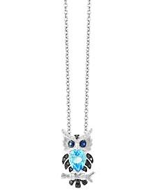 EFFY® Blue Topaz (9/10 ct. t.w.) Sapphire (1/10 ct. t.w.) and Diamond (1/10 ct. t.w.) Pendant in 14k White Gold