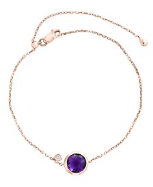 EFFY® Amethyst (1 1/2 ct. t.w.) and Diamond Accent Bracelet in 14k Rose Gold