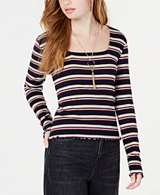 Freshman Juniors' Square-Neck Striped Top