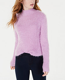 Planet Gold Juniors' Fuzzy Mock-Neck Cropped Sweater