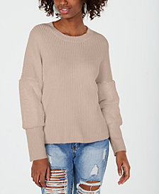 Ultra Flirt By Ikeddi Juniors' Faux Fur-Trimmed Sweater