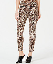 GUESS Double-Snap Animal-Print Pants