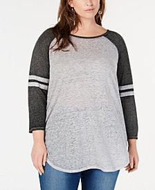 Love Tribe Plus Size Basic Raglan-Sleeve Top