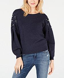 I.N.C. Embellished Balloon-Sleeve Sweater, Created for Macy's