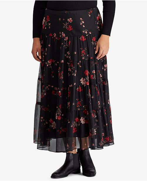 780963ff6b4 Lauren Ralph Lauren Plus Size Floral-Print Georgette Skirt   Reviews ...