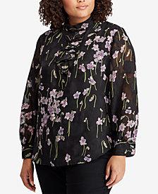 Lauren Ralph Lauren Plus Size Floral-Print Ruffled Top