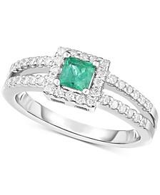 Emerald (1/3 ct. t.w.) & Diamond (1/3 ct. t.w.) Ring in 14k White Gold