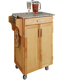 Home Styles Cuisine Cart Natural Finish Salt and Pepper Granite Top