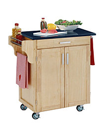 Home Styles Cuisine Cart Natural Finish Black Granite Top