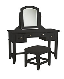 Home Styles Bedford Black Vanity Table and Bench