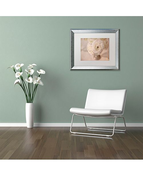 "Trademark Global Cora Niele 'White Persian Buttercup Still Life' Matted Framed Art, 11"" x 14"""