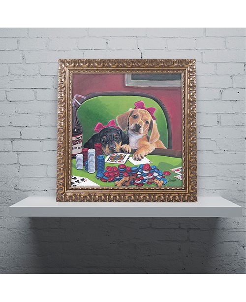 "Trademark Global Jenny Newland 'Poker Dogs 3' Ornate Framed Art, 16"" x 16"""