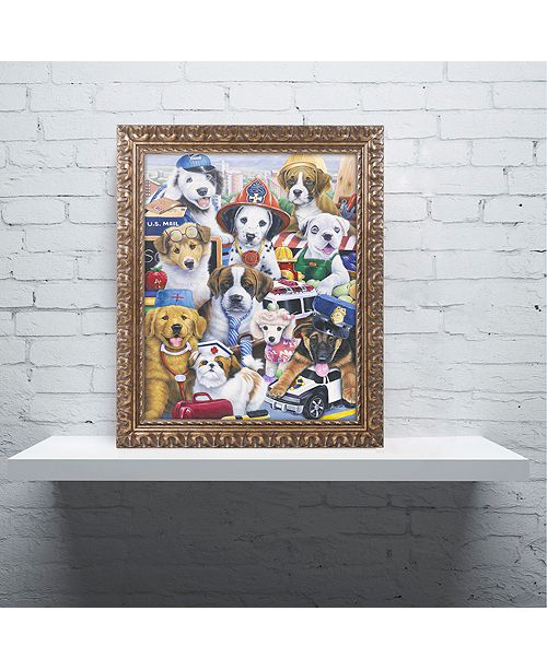 "Trademark Global Jenny Newland 'Working Puppies' Ornate Framed Art, 11"" x 14"""
