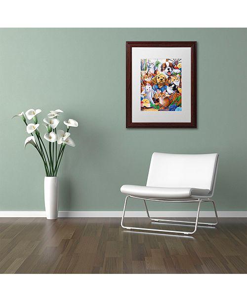 "Trademark Global Jenny Newland 'Yarn Buddies' Matted Framed Art, 16"" x 20"""