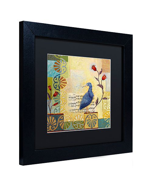 "Trademark Global Rachel Paxton 'Sandy Pond Heron' Matted Framed Art, 11"" x 11"""