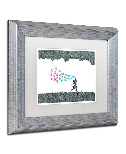 """Trademark Global Viz Art Ink 'Butterfly Bubbles' Matted Framed Art, 11"""" x 14"""""""