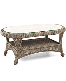 "Sandy Cove Wicker 40"" x 22"" Oval Outdoor Coffee Table, Created for Macy's"