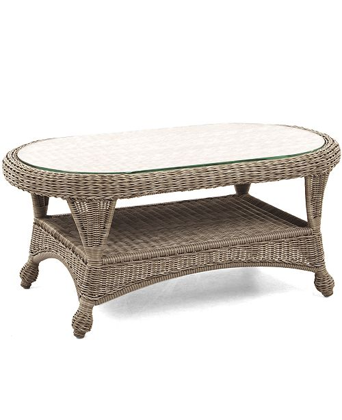 """Outdoor Coffee Table Oval: Furniture Sandy Cove Wicker 40"""" X 22"""" Oval Outdoor Coffee"""